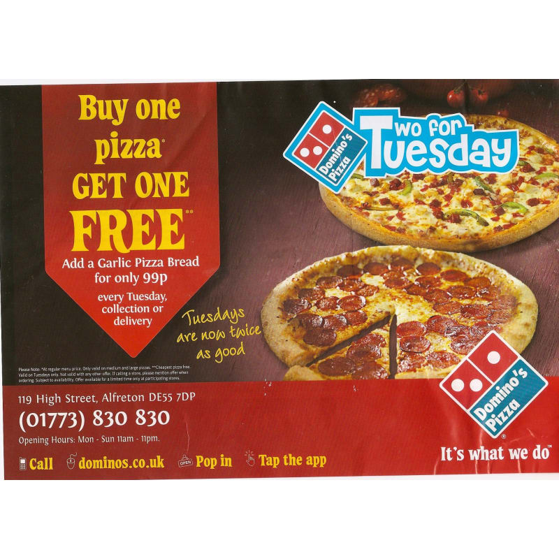 Dominos Pizza Alfreton Pizza Delivery Takeaway Yell