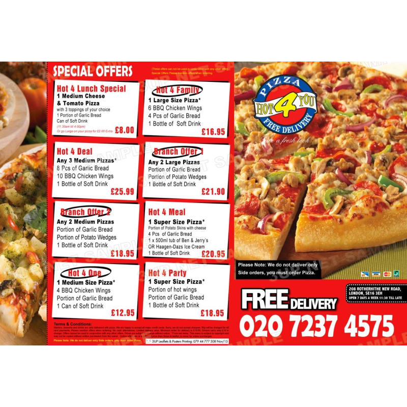 Pizza Hot 4 You London Pizza Delivery Takeaway Yell