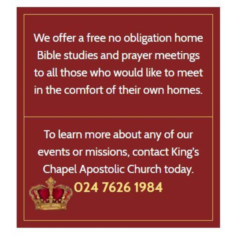 King's Chapel Apostolic Church, Coventry | Places Of Worship - Yell
