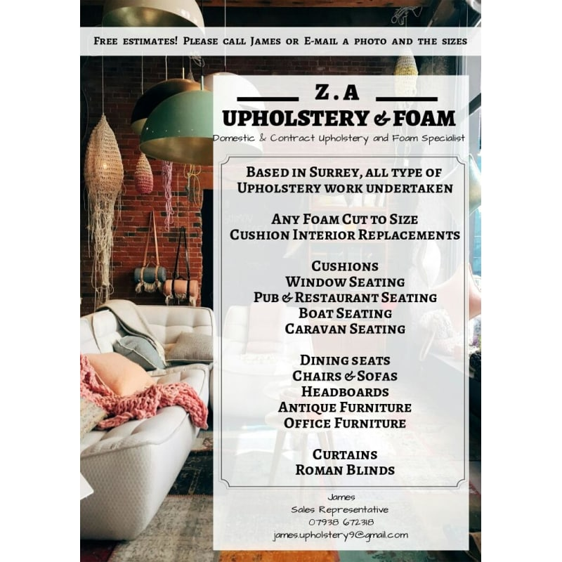 Z A Upholstery & Foam, Guildford | Upholsterers - Yell