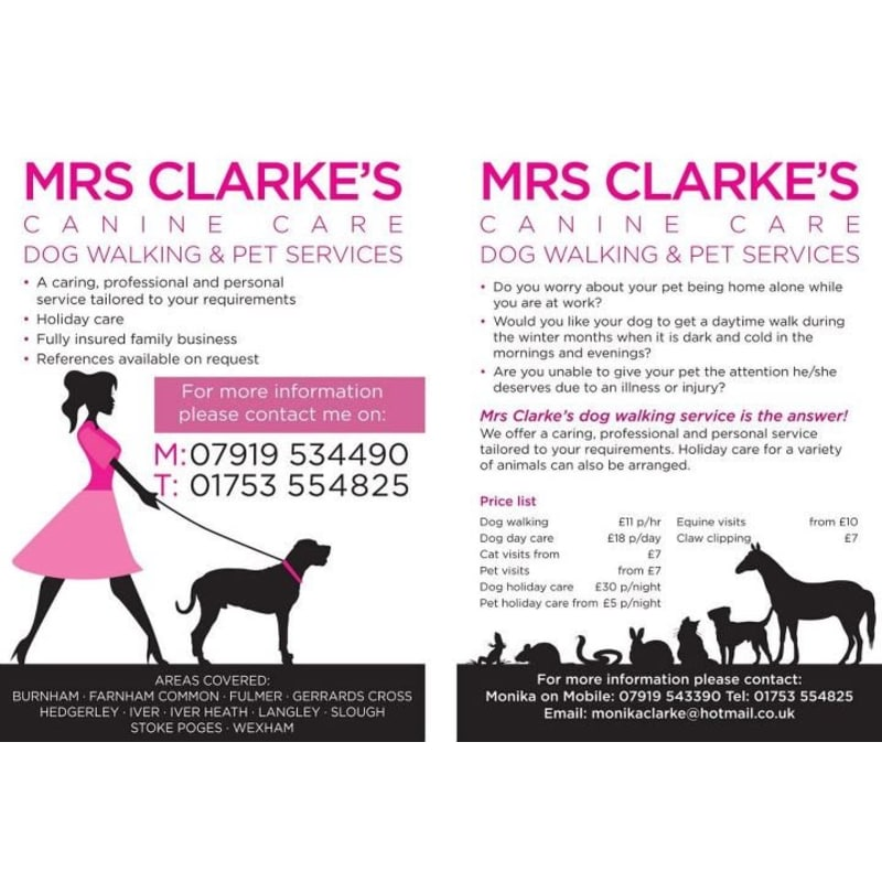 Mrs Clarkes Pet Services Slough Dog Walking Yell